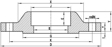 Drawing of ASME B16.5 SW flange