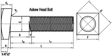 ASME B18.2.1 askew head bolt drawing