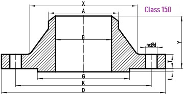 Drawing for WN flange 150LB