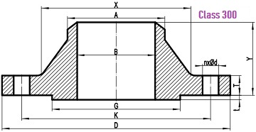 Drawing for WN flange 300LB