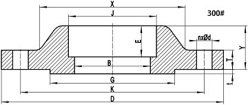 300LB SW flange drawing