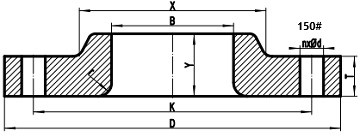 150LB lap joint flange drawing