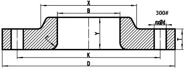 300LB lap joint flange drawing