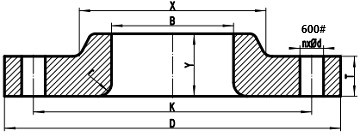 600LB lap joint flange drawing