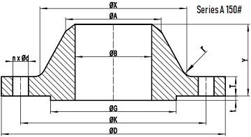 150LB WN Flange b16.47 sa drawing