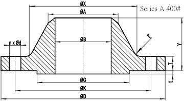 400LB WN Flange b16.47 sa drawing