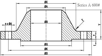 600LB WN Flange b16.47 sa drawing