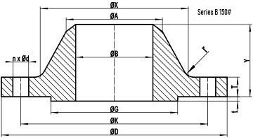 150LB WN Flange b16.47 sb drawing