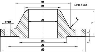 600LB WN Flange b16.47 sb drawing