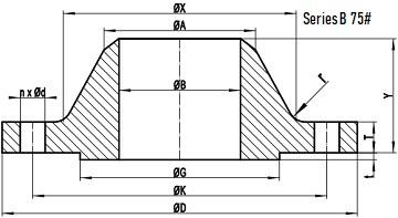 75LB WN Flange b16.47 sb drawing