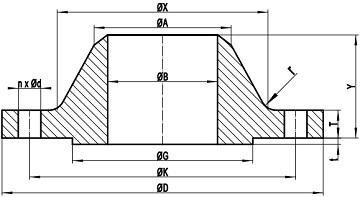 ASME B16.47 WN RF Drawing