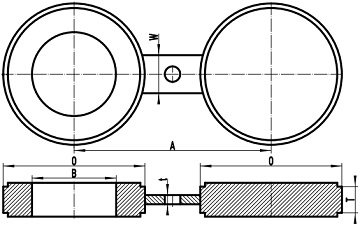 Drawing of ASME B16.48 spectacle blind flange