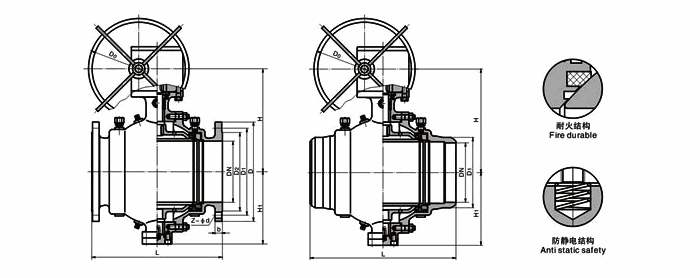 Diagram of Trunnion Mounted Ball Valve