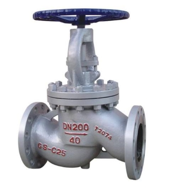 A typical flanged plunger globe valve