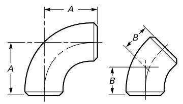 Drawing of 3D radius elbow