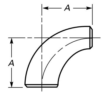 Drawing of long radius reducing elbows