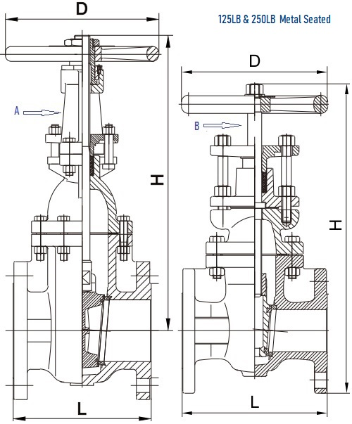 Gray iron gate valve, metal seated, RS & NRS