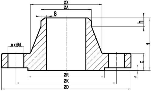 EN 1092-1 WNRF drawing
