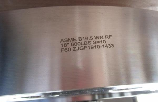 ASTM A182 F60 flange marking