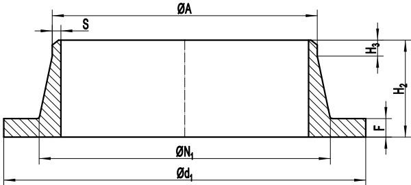 Drawing of EN 1092-1 Type 34