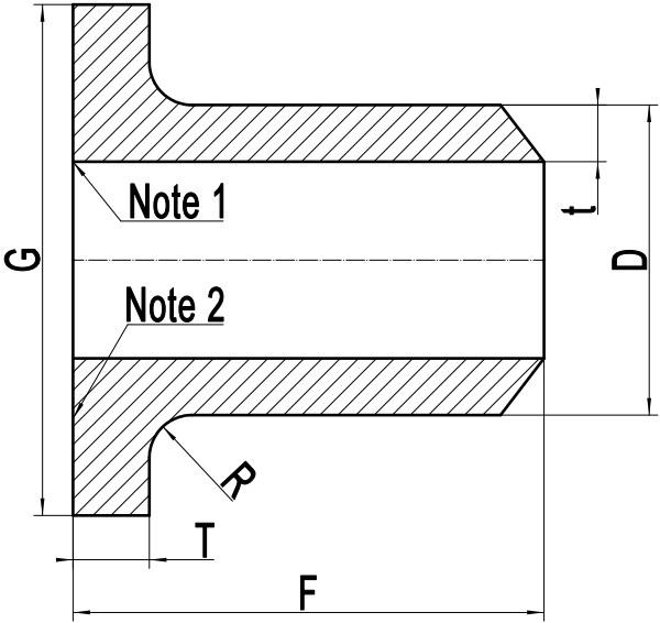 Drawing of Ti Gr.2 stub end